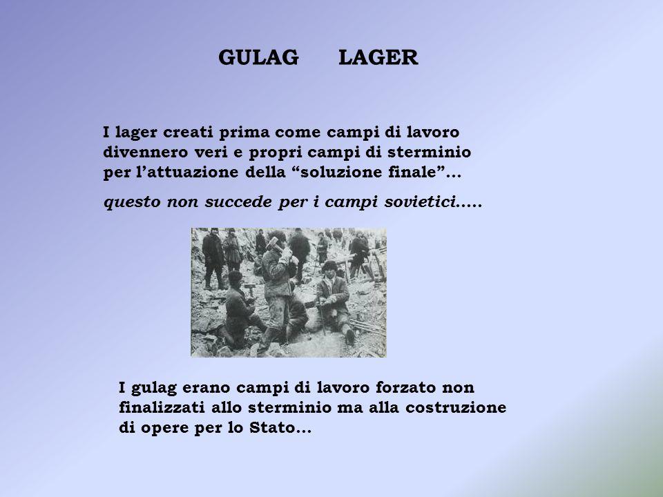 GULAGLAGER. I lager creati prima come campi di lavoro divennero veri e propri campi di sterminio per l'attuazione della soluzione finale …