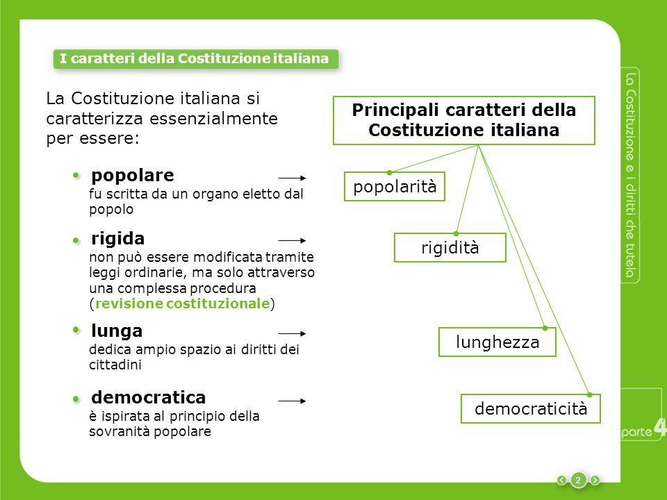 Principali caratteri della Costituzione italiana