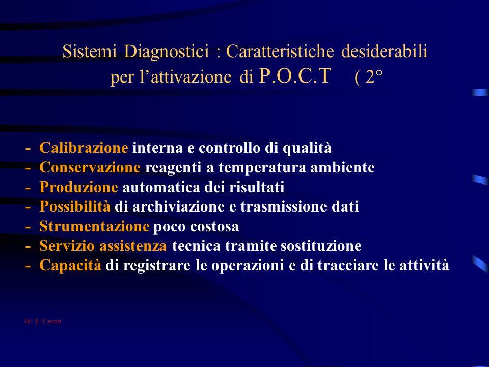 Sistemi Diagnostici : Caratteristiche desiderabili per l'attivazione di P.O.C.T ( 2°