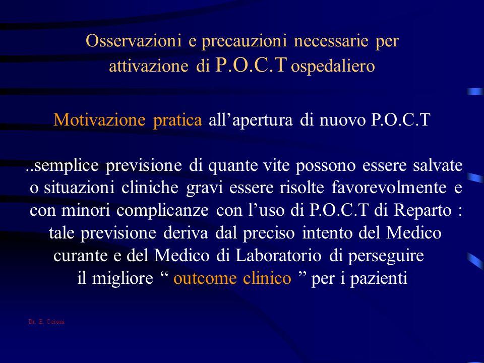 Motivazione pratica all'apertura di nuovo P.O.C.T