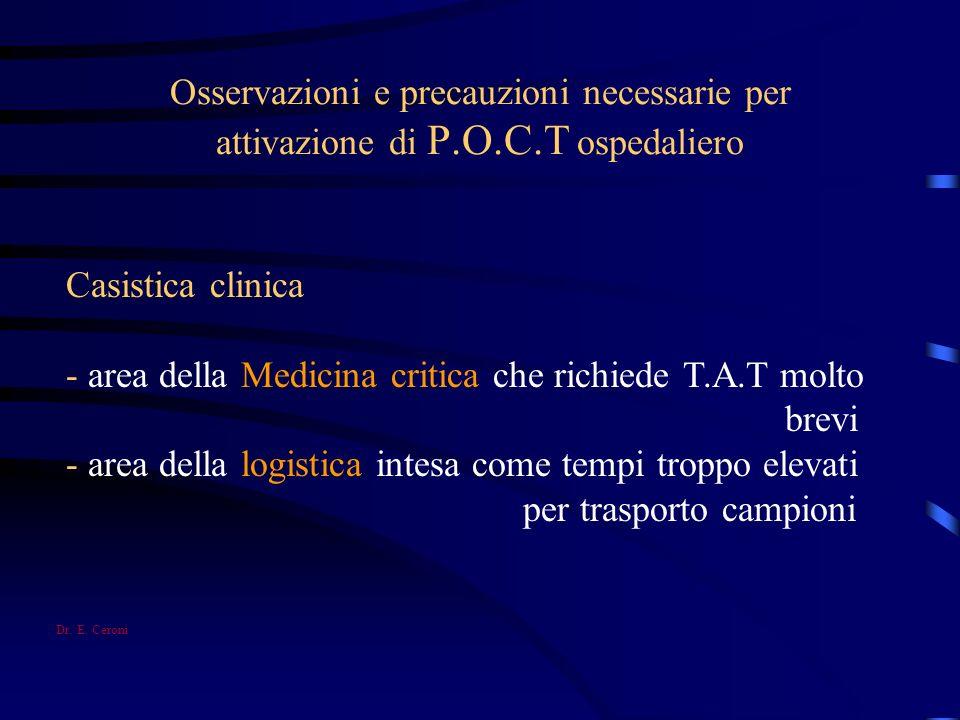 - area della Medicina critica che richiede T.A.T molto brevi