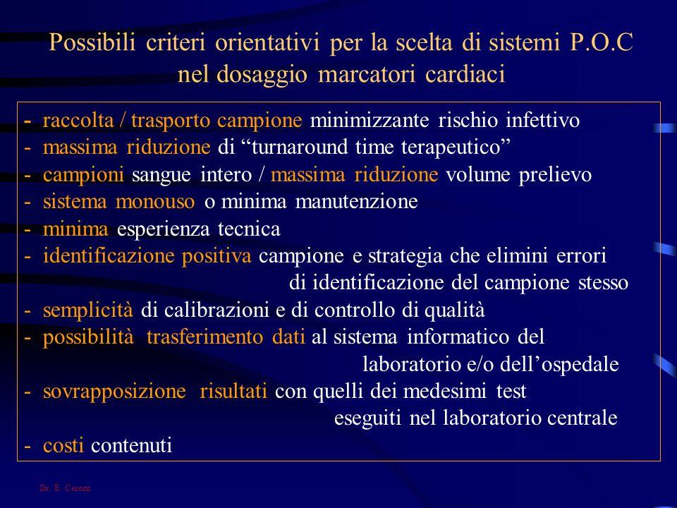Possibili criteri orientativi per la scelta di sistemi P. O