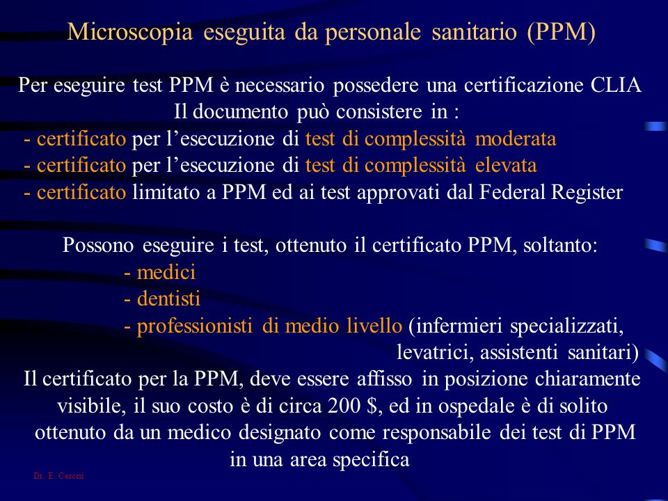 Microscopia eseguita da personale sanitario (PPM)