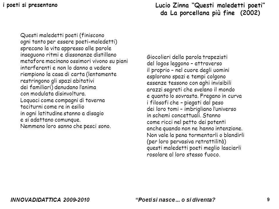 Lucio Zinna Questi maledetti poeti da La porcellana più fine (2002)