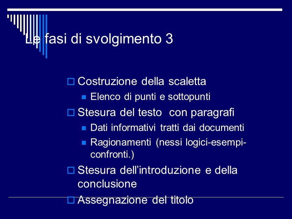 Le fasi di svolgimento 3 Costruzione della scaletta