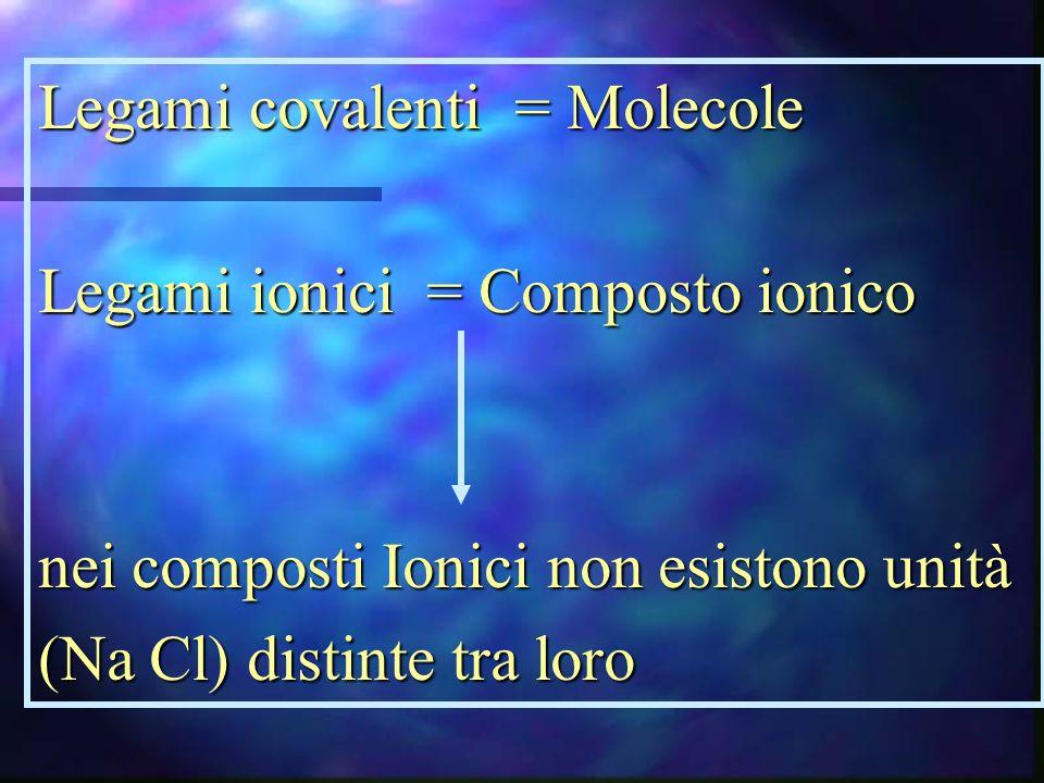 Legami covalenti = Molecole