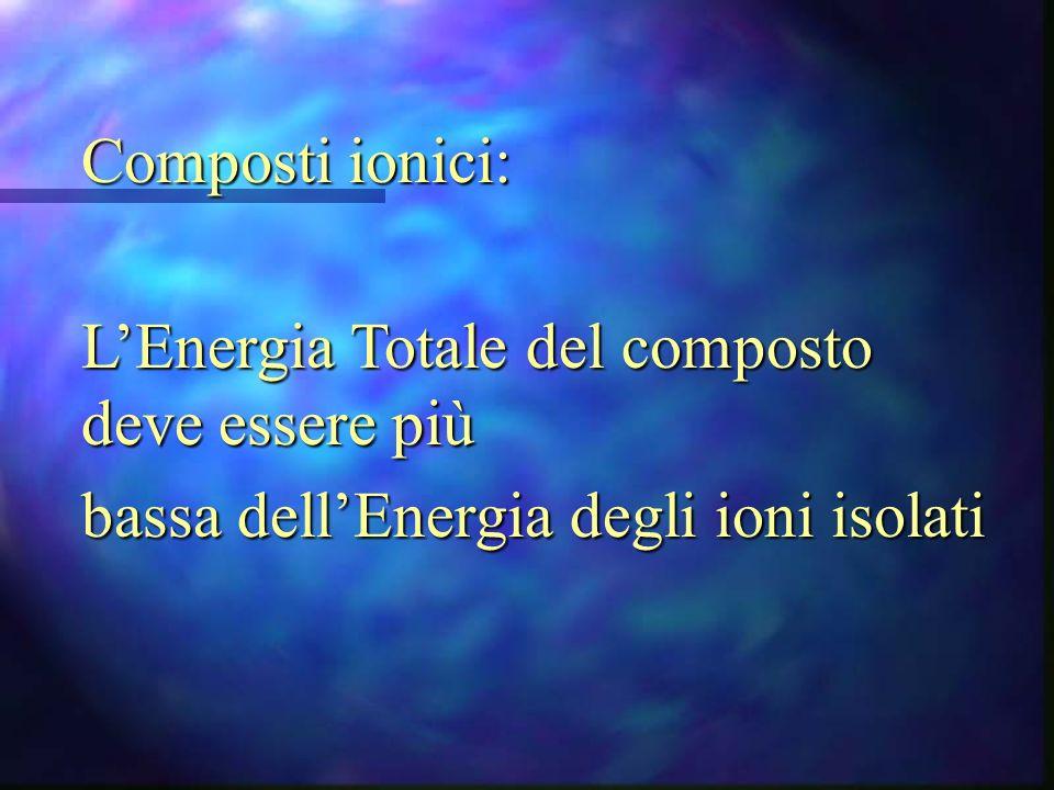 Composti ionici: L'Energia Totale del composto deve essere più.