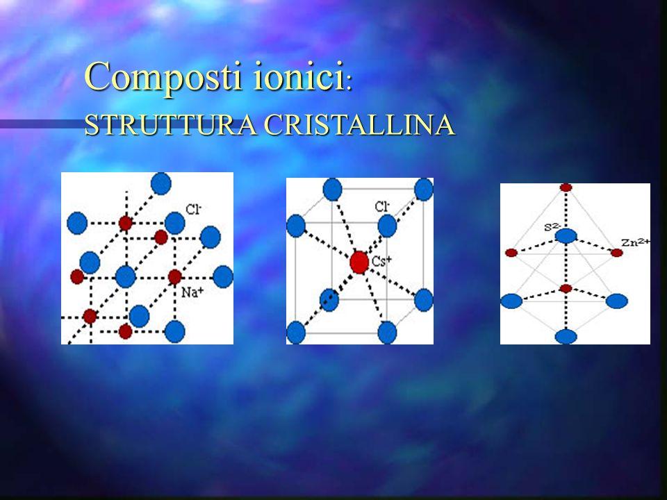 Composti ionici: STRUTTURA CRISTALLINA