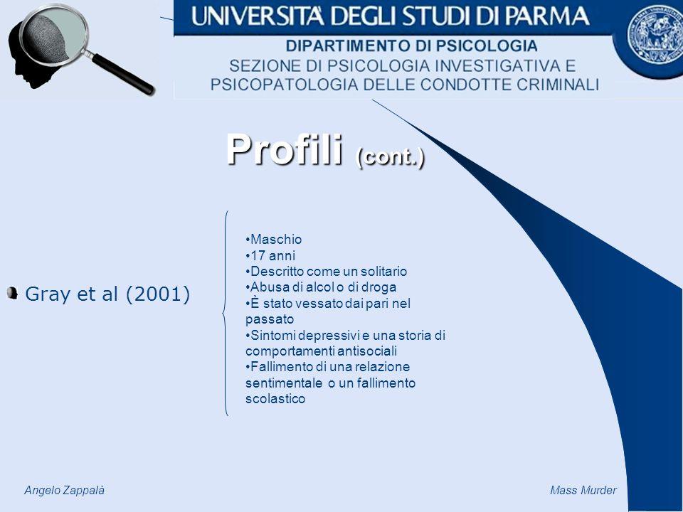 Profili (cont.) Gray et al (2001) Maschio 17 anni