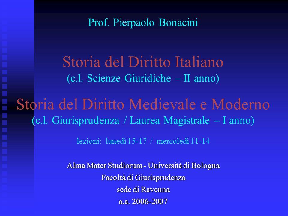 Prof. Pierpaolo Bonacini Storia del Diritto Italiano (c. l
