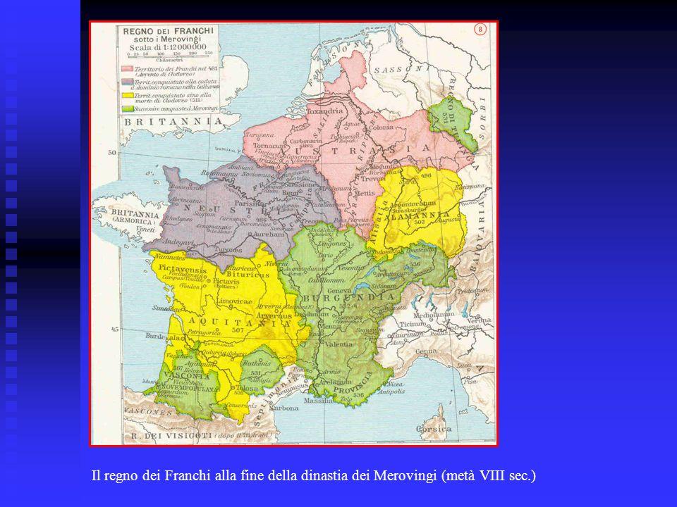 Il regno dei Franchi alla fine della dinastia dei Merovingi (metà VIII sec.)