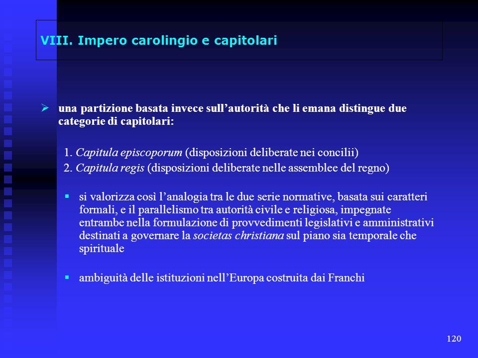 VIII. Impero carolingio e capitolari