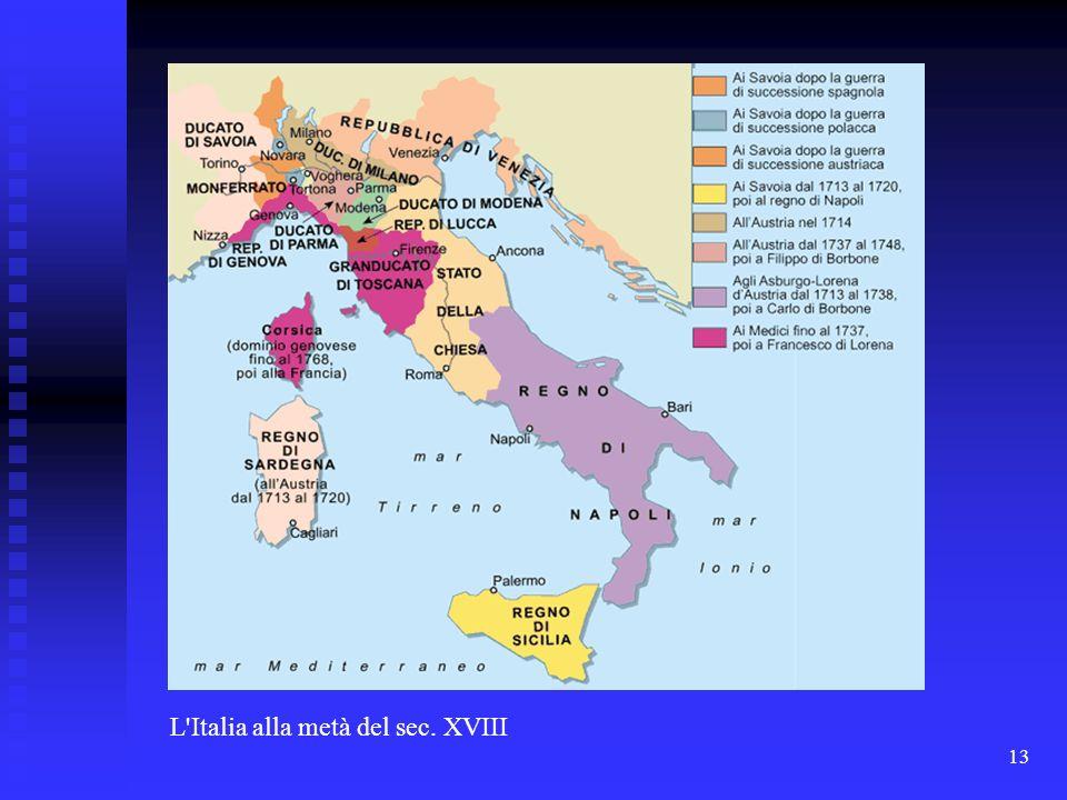 L Italia alla metà del sec. XVIII