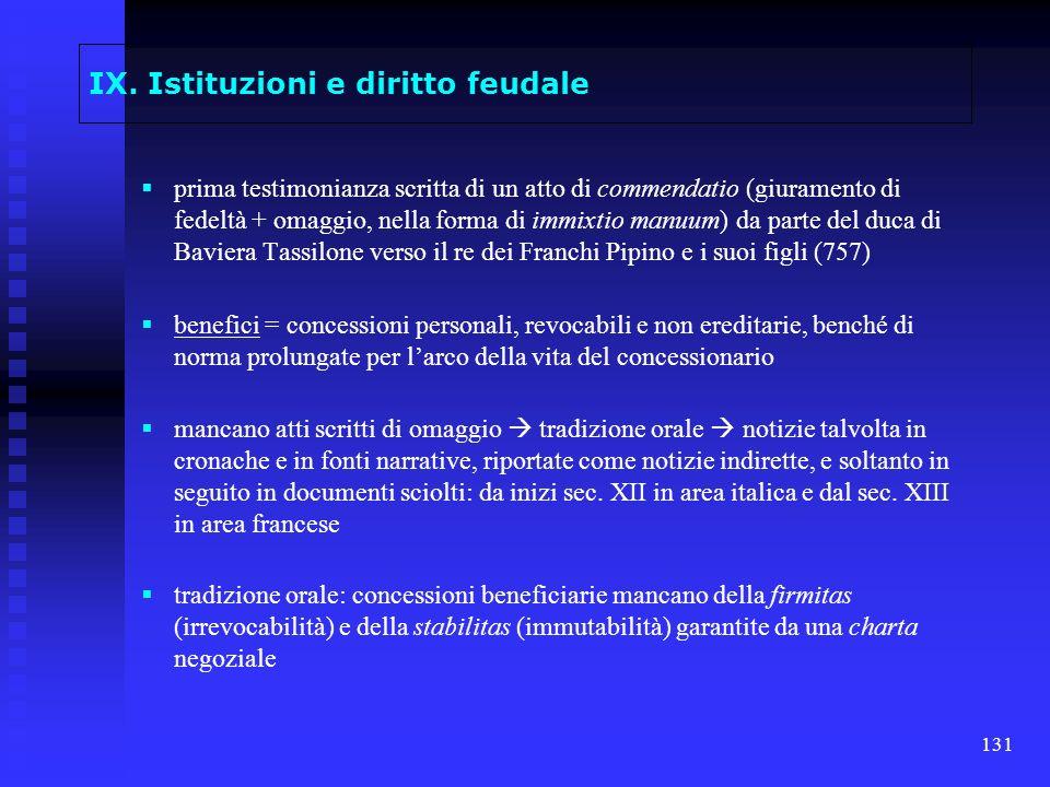 IX. Istituzioni e diritto feudale