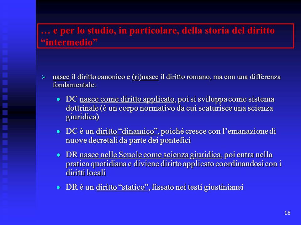 … e per lo studio, in particolare, della storia del diritto intermedio