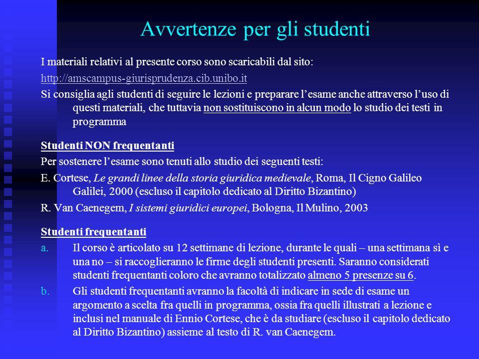 Avvertenze per gli studenti
