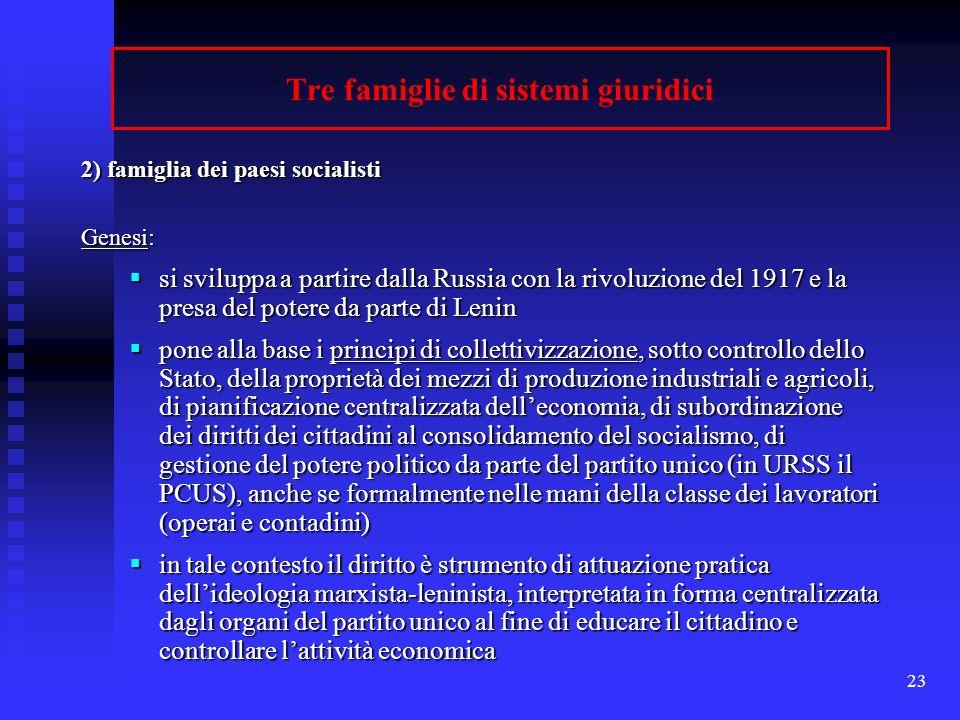 Tre famiglie di sistemi giuridici