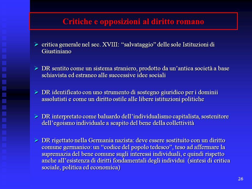 Critiche e opposizioni al diritto romano