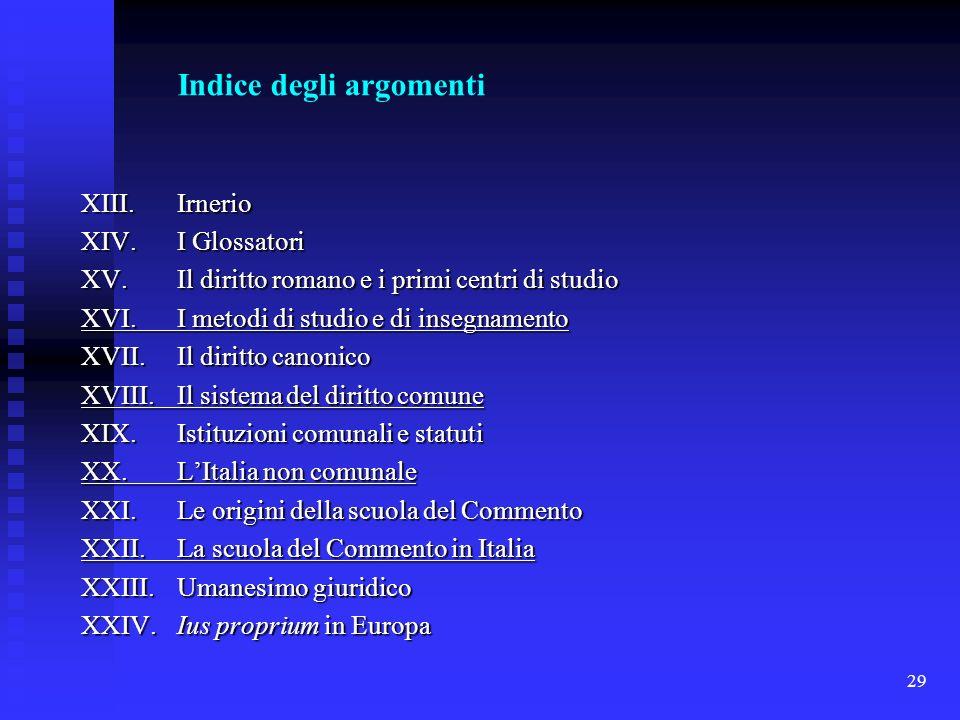 Indice degli argomenti. XIII. Irnerio. XIV. I Glossatori. XV