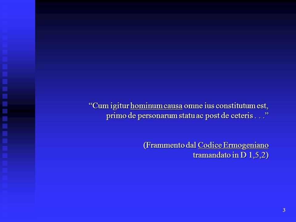 Cum igitur hominum causa omne ius constitutum est, primo de personarum statu ac post de ceteris . . .