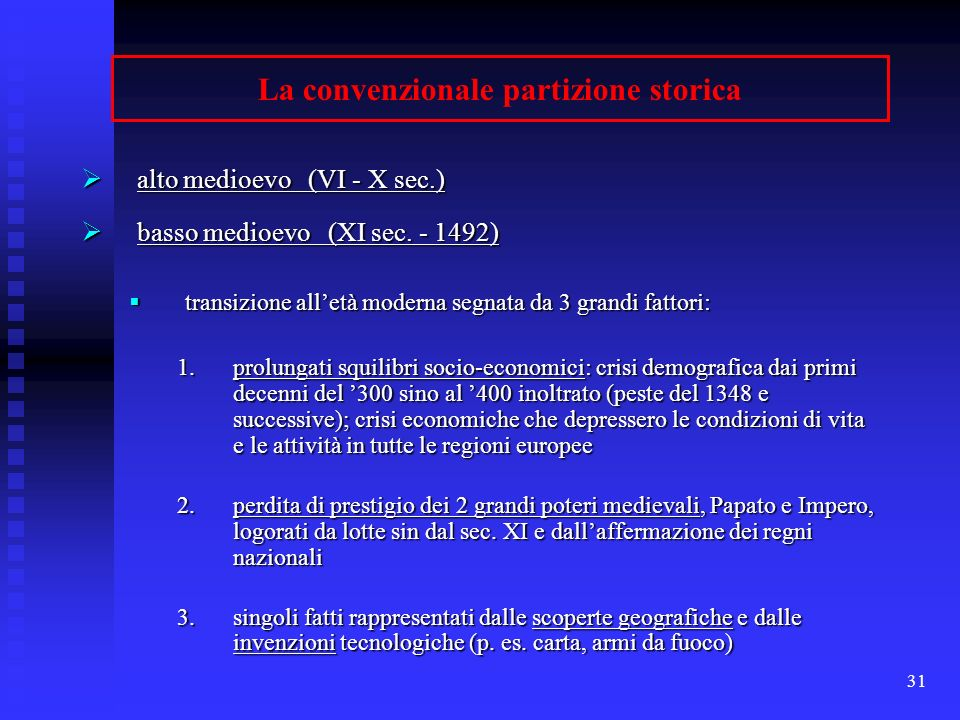 La convenzionale partizione storica