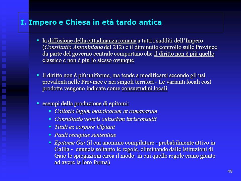I. Impero e Chiesa in età tardo antica