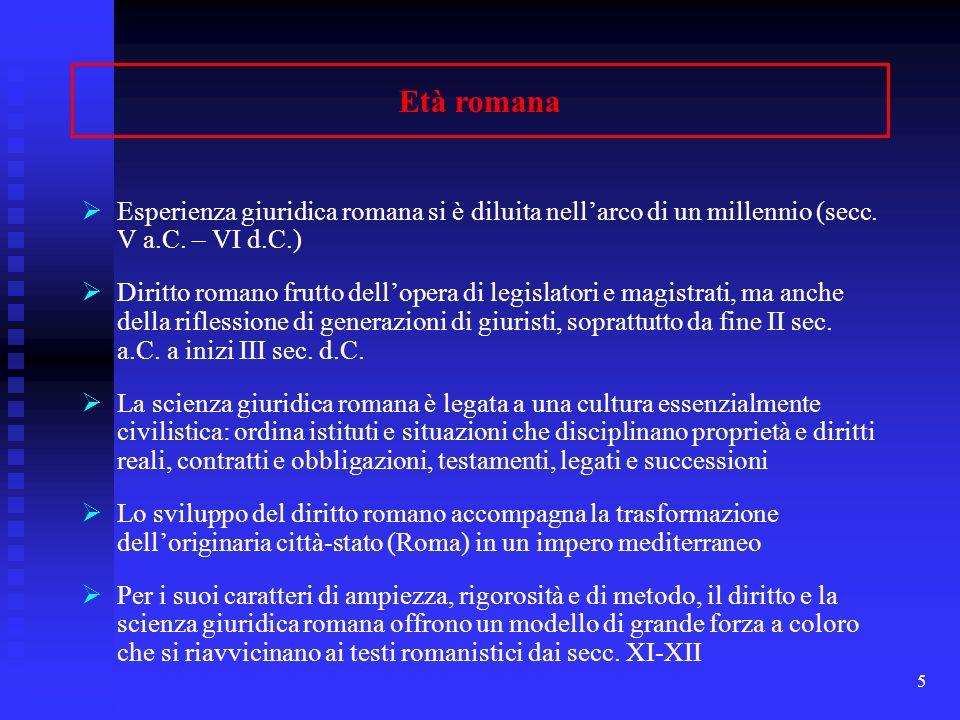 Età romana Esperienza giuridica romana si è diluita nell'arco di un millennio (secc. V a.C. – VI d.C.)