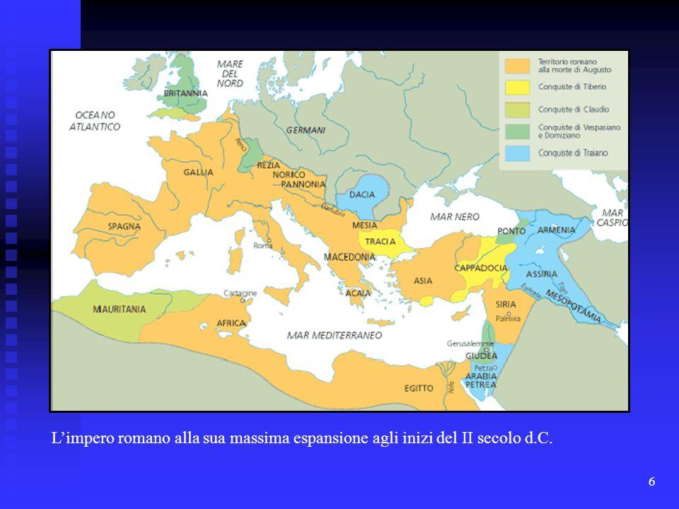 L'impero romano alla sua massima espansione agli inizi del II secolo d