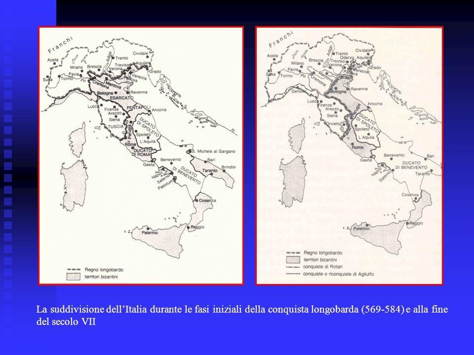 La suddivisione dell'Italia durante le fasi iniziali della conquista longobarda (569-584) e alla fine del secolo VII