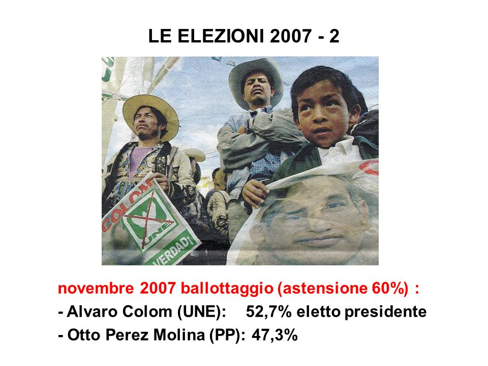 LE ELEZIONI 2007 - 2 novembre 2007 ballottaggio (astensione 60%) :