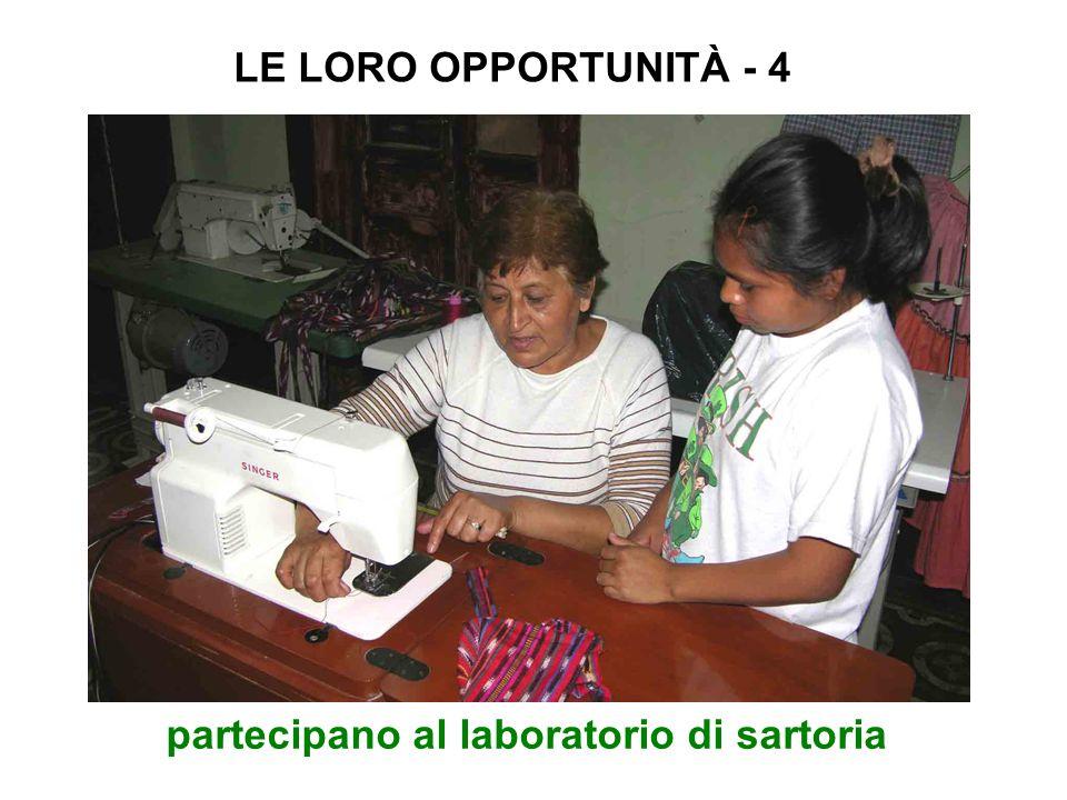 partecipano al laboratorio di sartoria