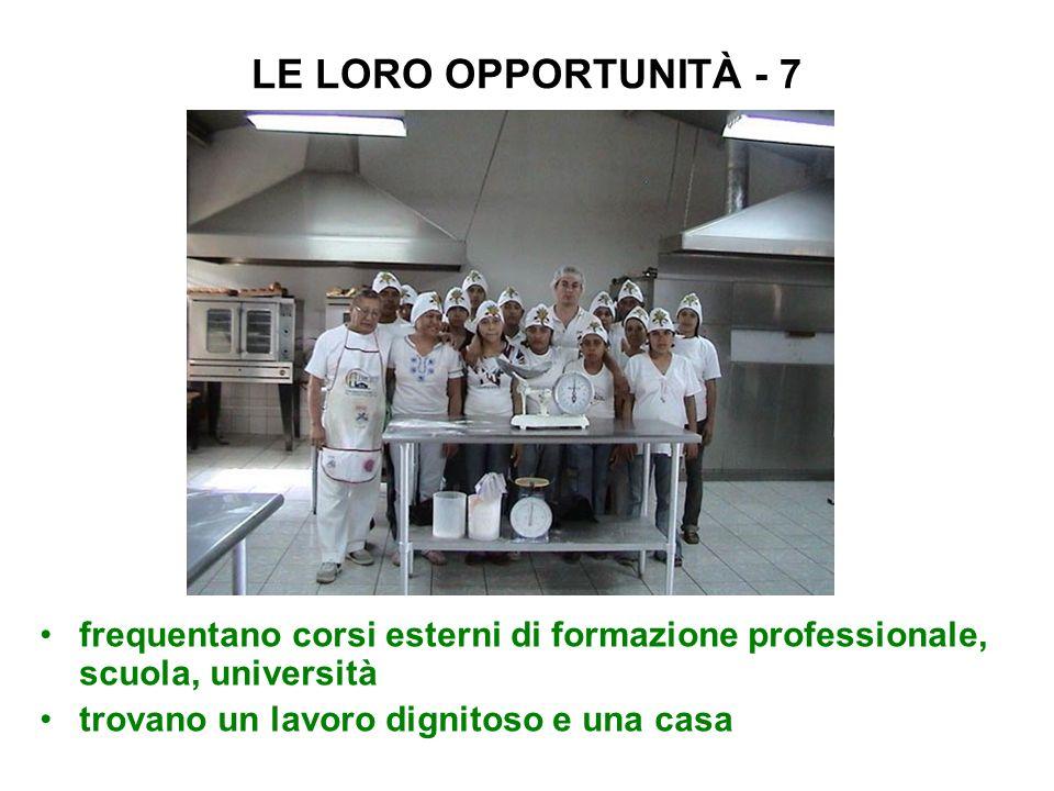 LE LORO OPPORTUNITÀ - 7 frequentano corsi esterni di formazione professionale, scuola, università.