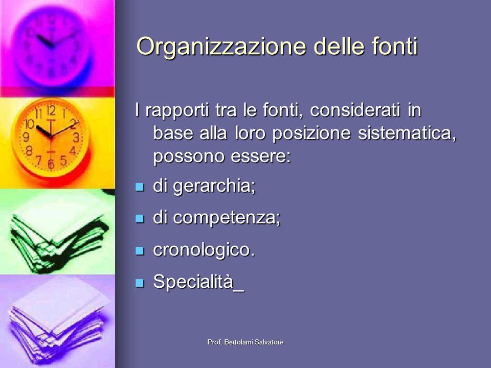 Organizzazione delle fonti