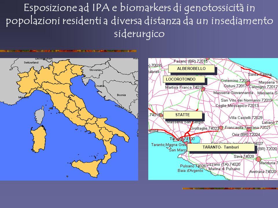 Esposizione ad IPA e biomarkers di genotossicità in popolazioni residenti a diversa distanza da un insediamento siderurgico