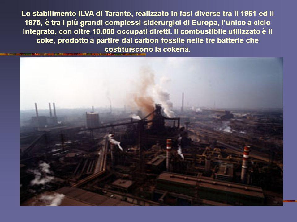Lo stabilimento ILVA di Taranto, realizzato in fasi diverse tra il 1961 ed il 1975, è tra i più grandi complessi siderurgici di Europa, l'unico a ciclo integrato, con oltre 10.000 occupati diretti.