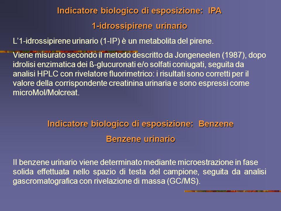 Indicatore biologico di esposizione: IPA 1-idrossipirene urinario