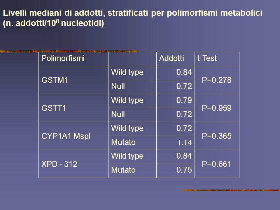 Livelli mediani di addotti, stratificati per polimorfismi metabolici (n. addotti/108 nucleotidi)