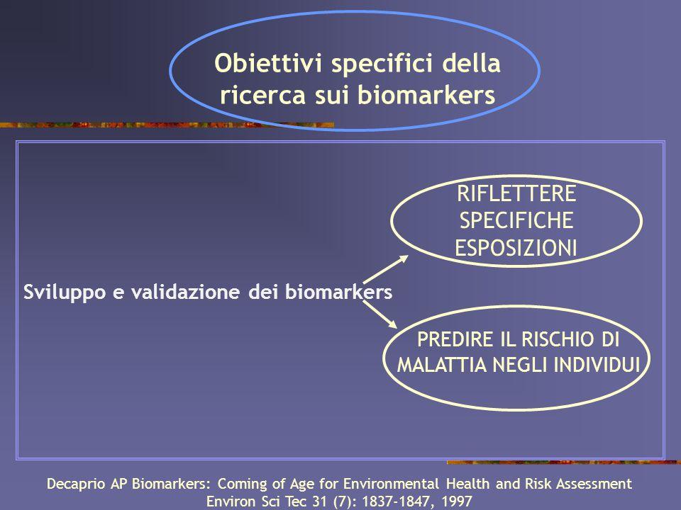 Obiettivi specifici della ricerca sui biomarkers