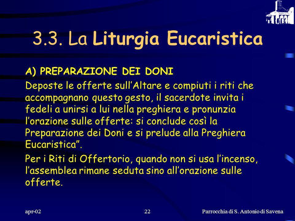 3.3. La Liturgia Eucaristica