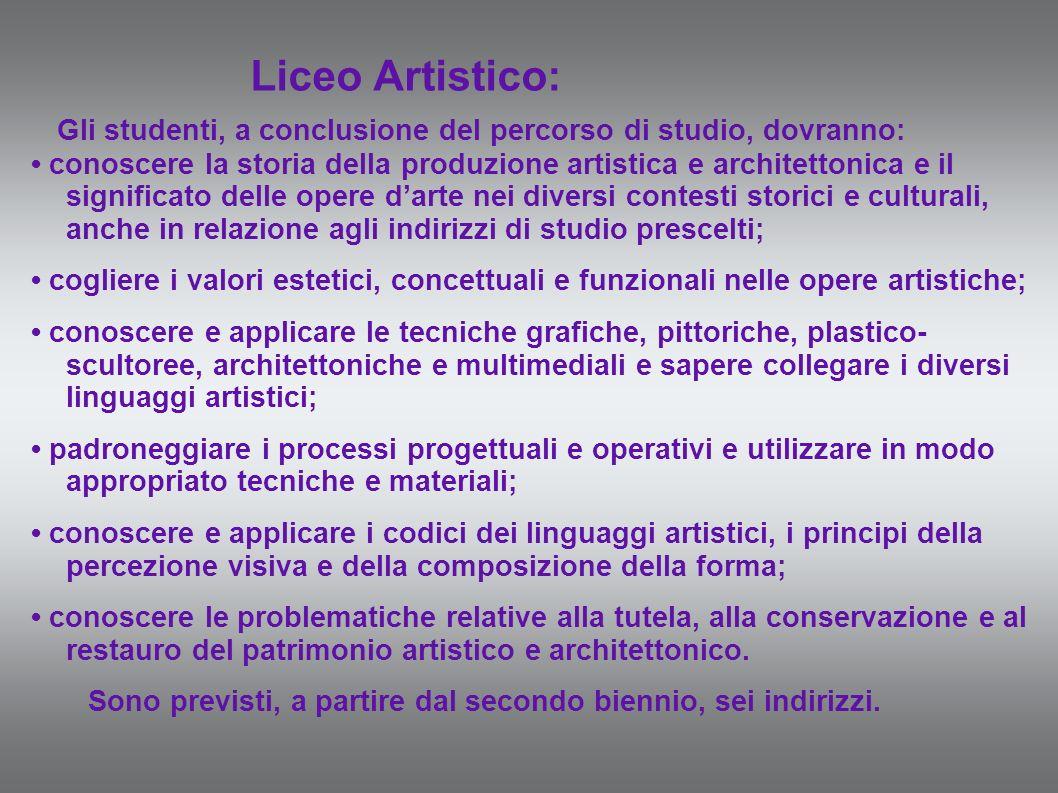 Liceo Artistico: Gli studenti, a conclusione del percorso di studio, dovranno: