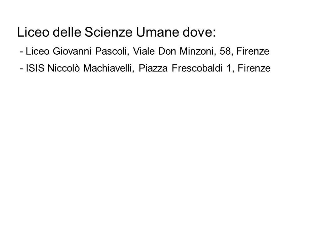 Liceo delle Scienze Umane dove: