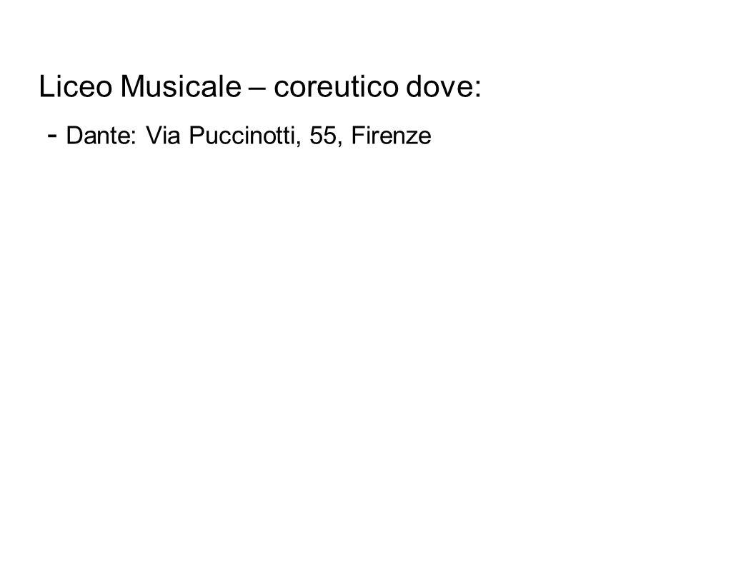 Liceo Musicale – coreutico dove: