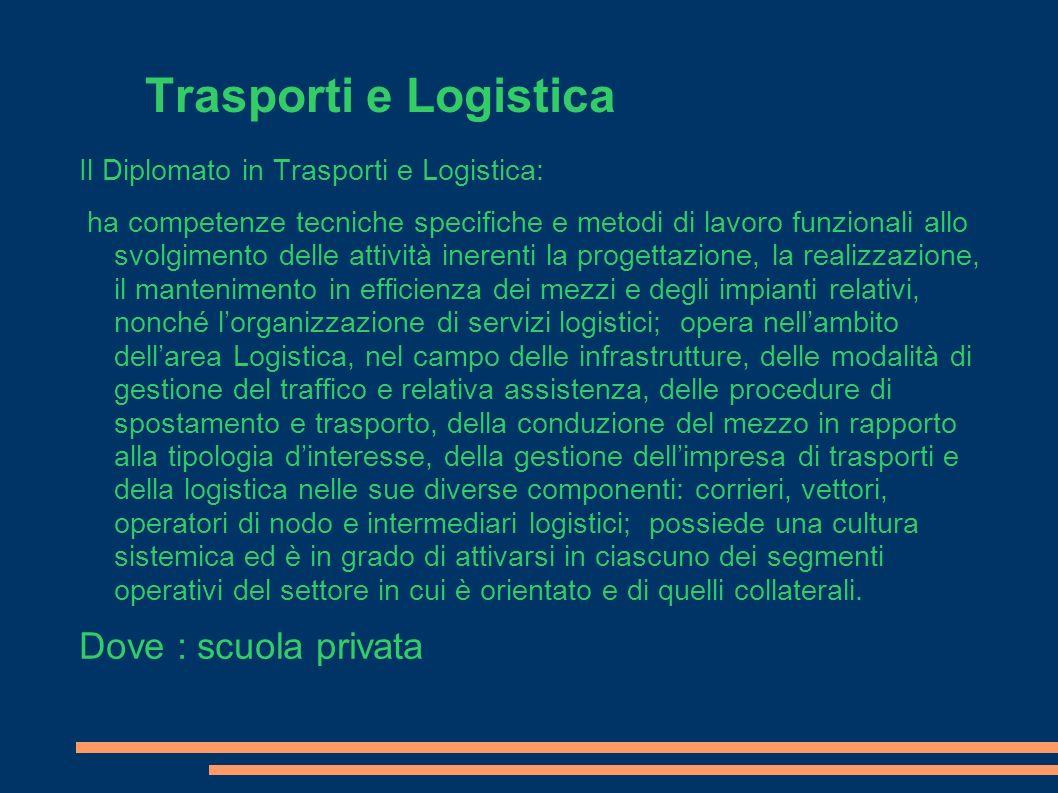 Trasporti e Logistica Dove : scuola privata