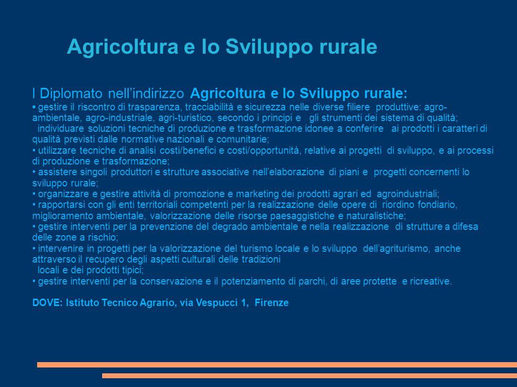 Agricoltura e lo Sviluppo rurale