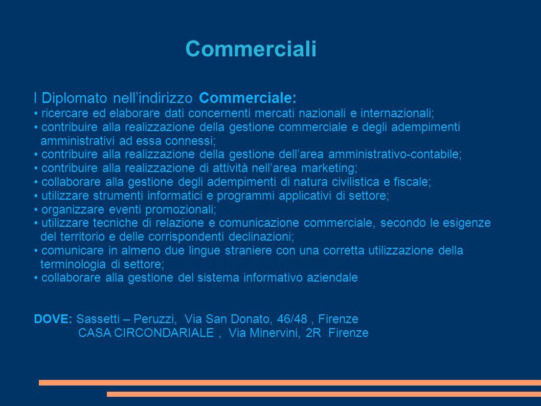 Commerciali l Diplomato nell'indirizzo Commerciale: