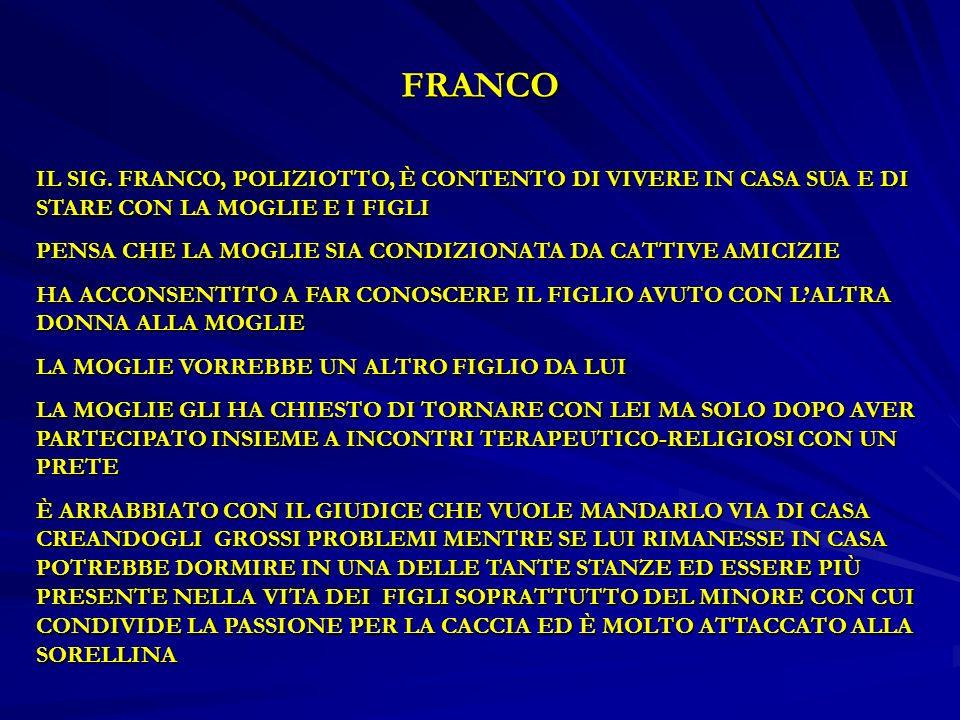FRANCO IL SIG. FRANCO, POLIZIOTTO, È CONTENTO DI VIVERE IN CASA SUA E DI STARE CON LA MOGLIE E I FIGLI.