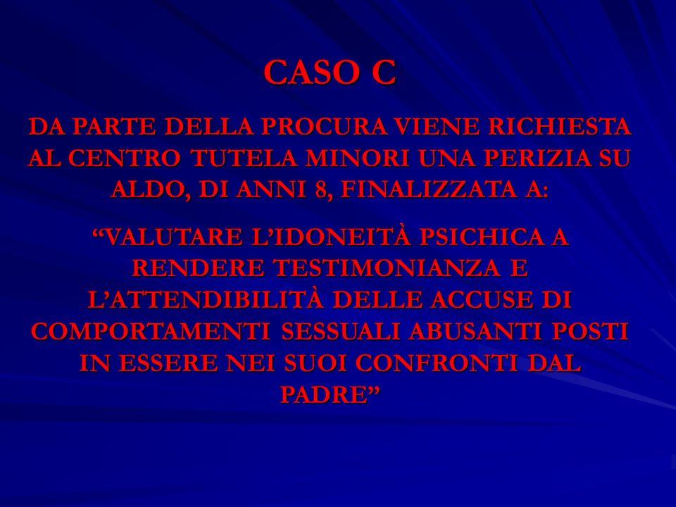 CASO C DA PARTE DELLA PROCURA VIENE RICHIESTA AL CENTRO TUTELA MINORI UNA PERIZIA SU ALDO, DI ANNI 8, FINALIZZATA A: