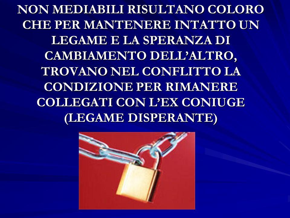 NON MEDIABILI RISULTANO COLORO CHE PER MANTENERE INTATTO UN LEGAME E LA SPERANZA DI CAMBIAMENTO DELL'ALTRO, TROVANO NEL CONFLITTO LA CONDIZIONE PER RIMANERE COLLEGATI CON L'EX CONIUGE (LEGAME DISPERANTE)