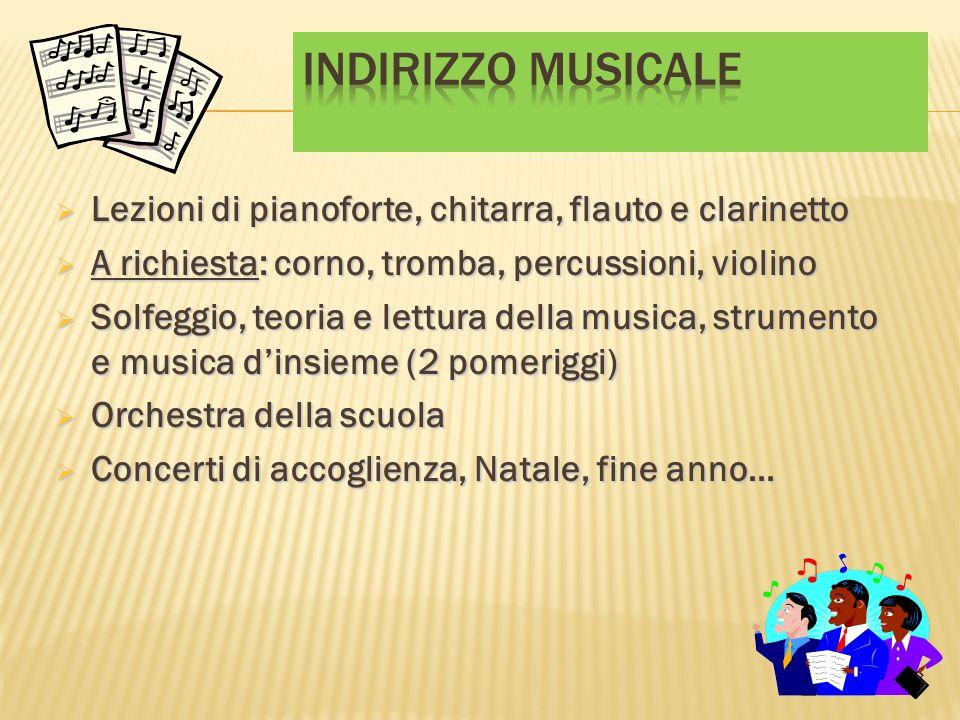 Indirizzo musicaleLezioni di pianoforte, chitarra, flauto e clarinetto. A richiesta: corno, tromba, percussioni, violino.
