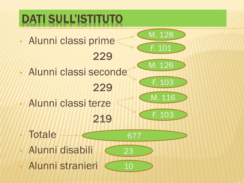 Dati sull'istituto Alunni classi prime 229 Alunni classi seconde